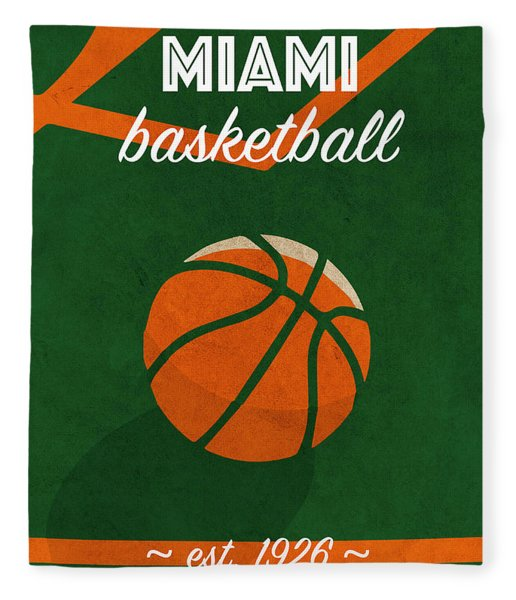 Miami University Retro College Basketball Team Poster Fleece Blanket