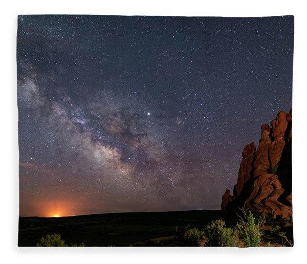 Milky Way At Navajo Rocks Fleece Blanket