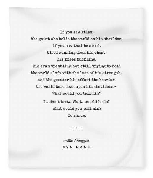 Minimal Ayn Rand Quote 02- Atlas Shrugged - Modern, Classy, Sophisticated Art Prints For Interiors Fleece Blanket