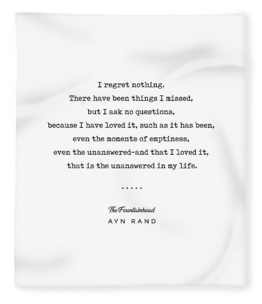 Minimal Ayn Rand Quote 03- The Fountainhead - Modern, Classy, Sophisticated Art Prints For Interiors Fleece Blanket