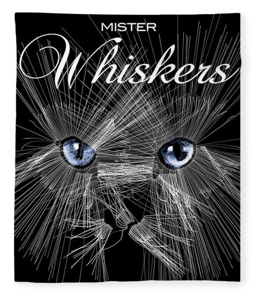 Fleece Blanket featuring the digital art Mister Whiskers by ISAW Company