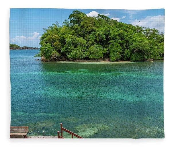Monkey Island In Portland Jamaica Fleece Blanket