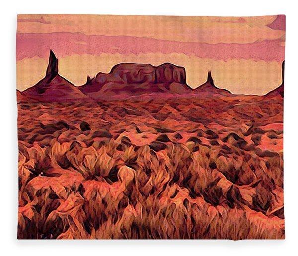 Monument Valley Abstract Fleece Blanket