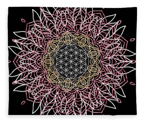 Fleece Blanket featuring the digital art Moon Mandala by Bee-Bee Deigner