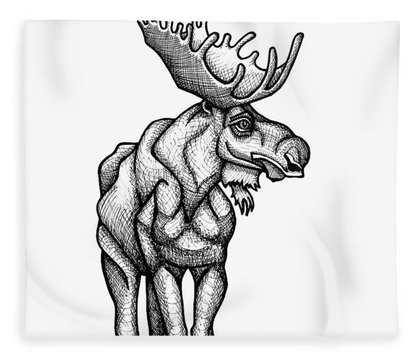 Fleece Blanket featuring the drawing Moose by Amy E Fraser