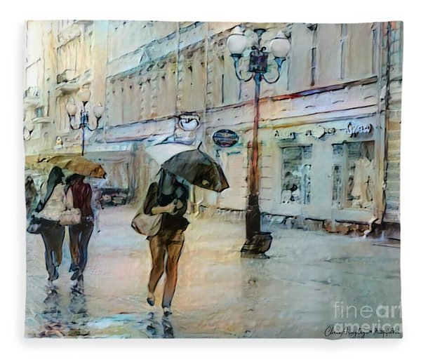 Moscow In The Rain Fleece Blanket