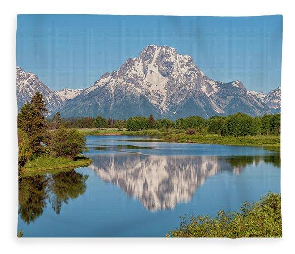 Mount Moran On Snake River Landscape Fleece Blanket