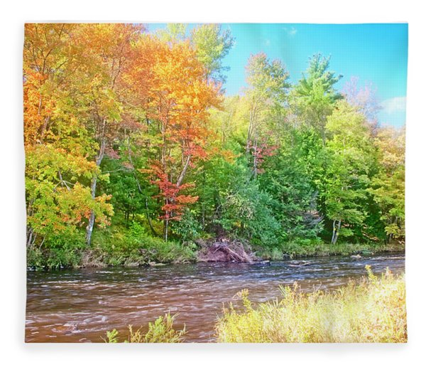 Mountain Stream In Early Autumn Fleece Blanket
