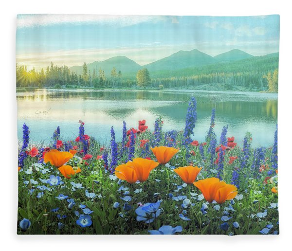 Mountain Summer Blooms Misty Morning Fleece Blanket