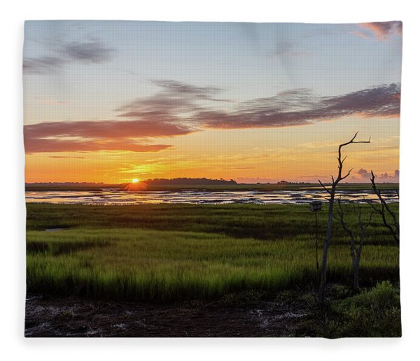 Murrells Inlet Sunrise - August 4 2019 Fleece Blanket