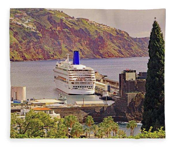 Mv Oriana In Funchal Fleece Blanket