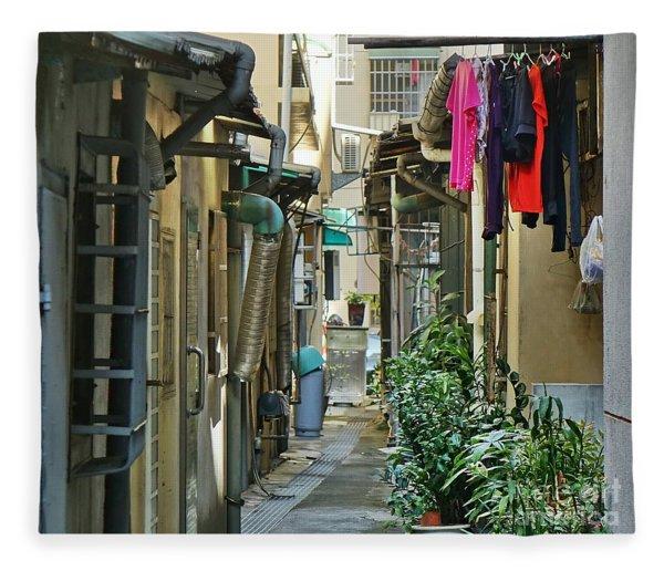 Narrow Alley In Taiwan Fleece Blanket