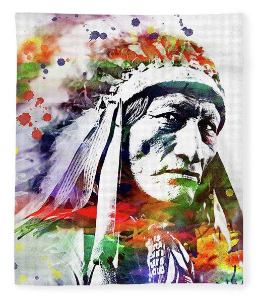 Native American Indian Watercolor 5 Fleece Blanket