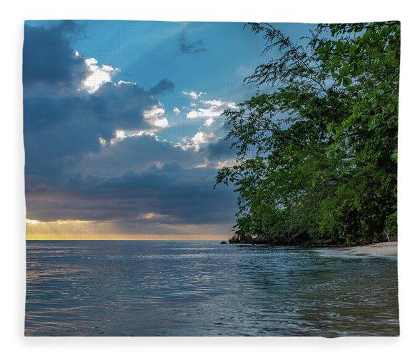 Negril Beach Sunburst At Sunset Fleece Blanket