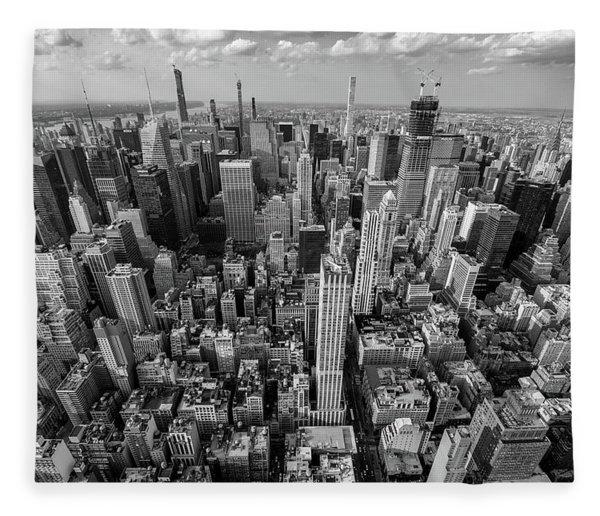 New York City Black White Fleece Blanket