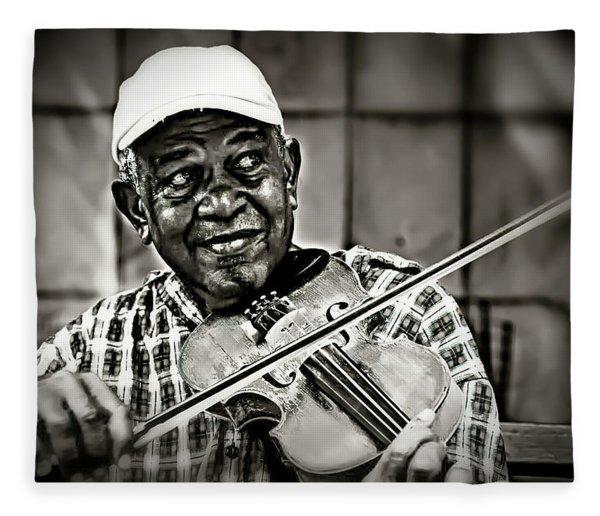 New York Street Fiddler Fleece Blanket