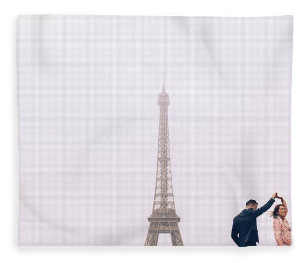 Newly-wed Couple On Their Honeymoon In Paris, Loving Having A Date Near The Eiffel Tower Fleece Blanket