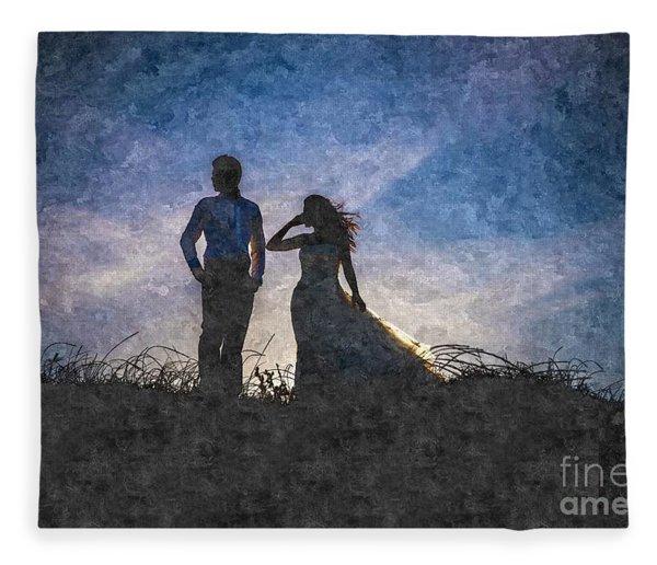 Newlywed Couple After Their Wedding At Sunset, Digital Art Oil P Fleece Blanket