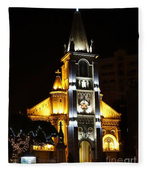 Night View Of The Holy Rosary Cathedral Fleece Blanket