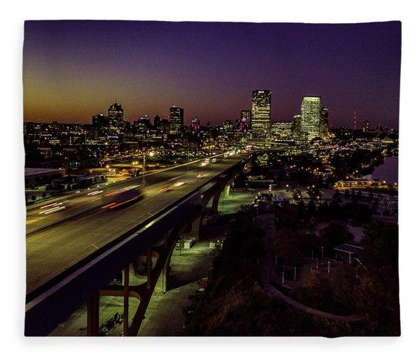 Nightfall In Milwaukee Fleece Blanket