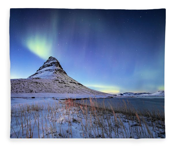 Northern Lights Atop Kirkjufell Iceland Fleece Blanket
