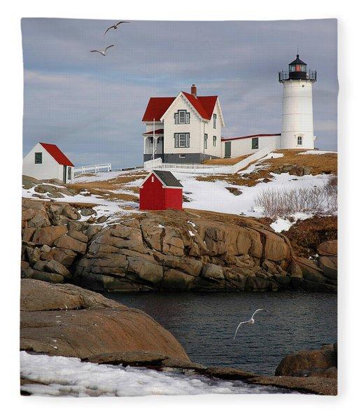 Nubble Light - Cape Neddick Lighthouse Seascape Landscape Rocky Coast Maine Fleece Blanket