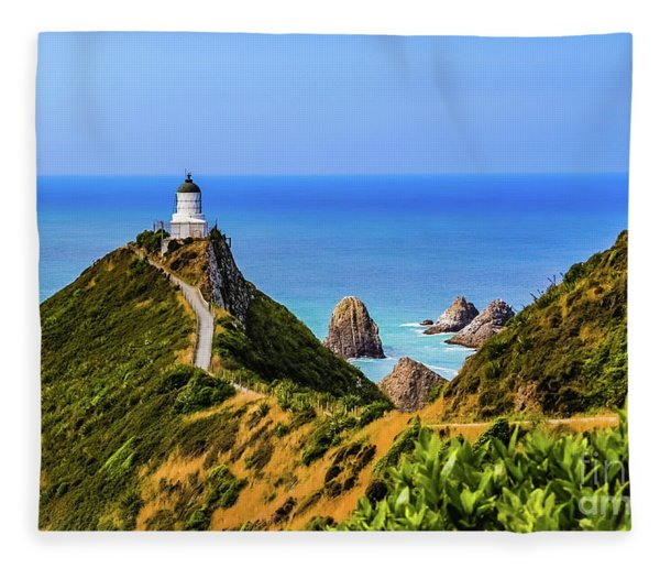 Nugget Point Lighthouse, New Zealand Fleece Blanket