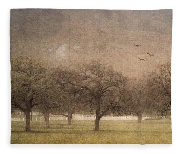 Oak Trees In Fog Fleece Blanket