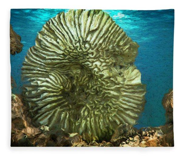 Ocean With Its Life Underground Fleece Blanket