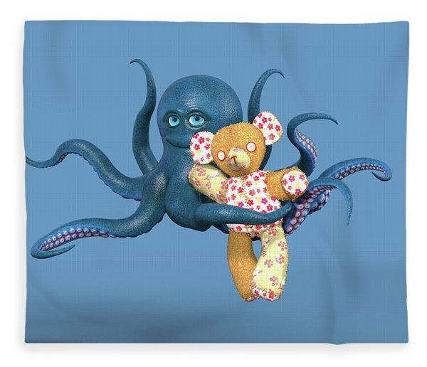 Octopus Blue And Bear Fleece Blanket