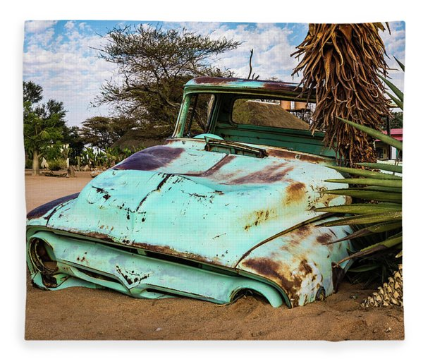 Old And Abandoned Car 2 In Solitaire, Namibia Fleece Blanket