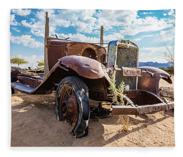 Old And Abandoned Car 3 In Solitaire, Namibia Fleece Blanket
