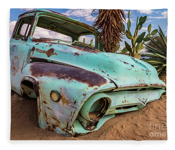 Old And Abandoned Car 7 In Solitaire, Namibia Fleece Blanket