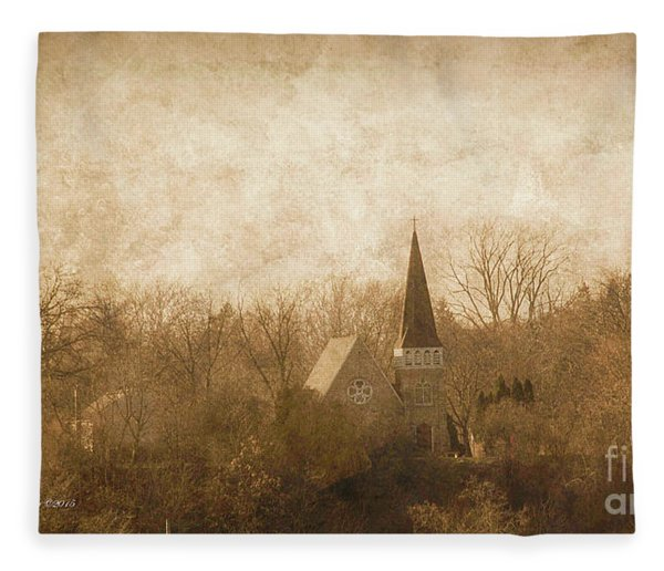 Old Church On A Hill  Fleece Blanket