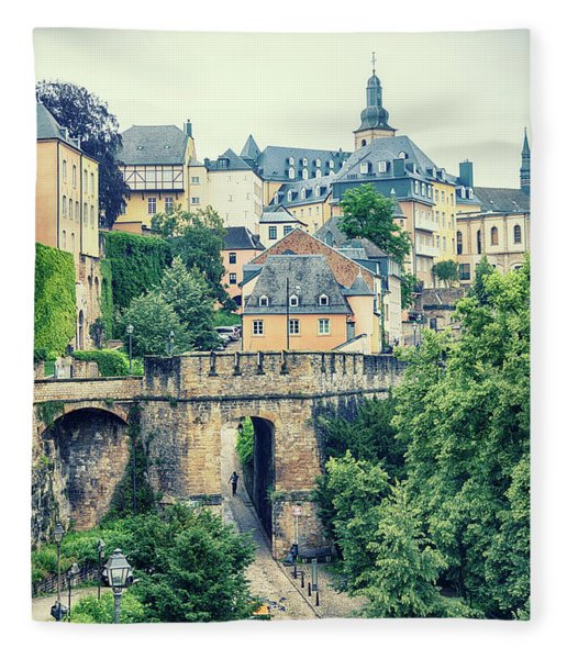 old city Luxembourg from above Fleece Blanket