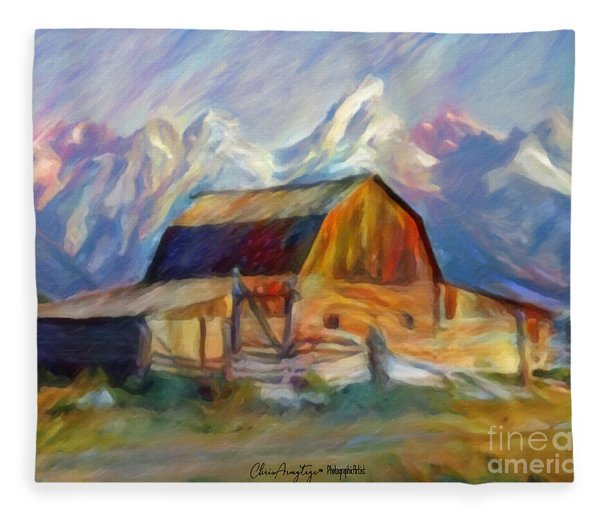 Old Wyoming Barn Fleece Blanket