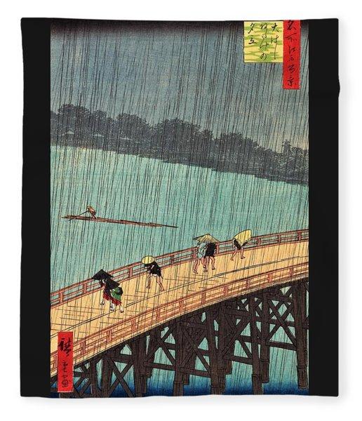 One Hundred Famous Views Of Edo - Sudden Shower Over Shin-ohashi Bridge And Atake Fleece Blanket