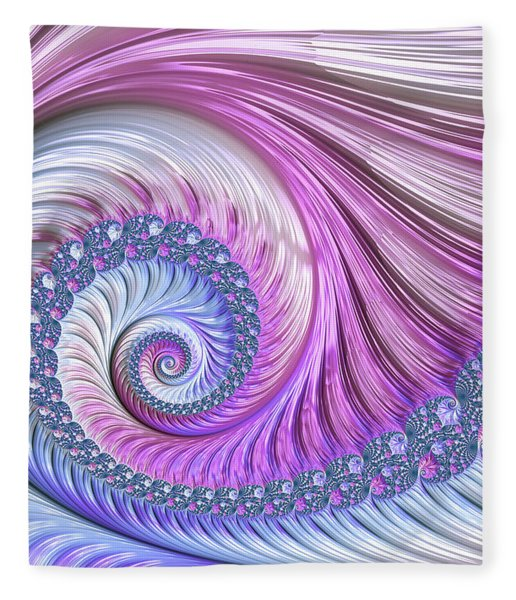 Fleece Blanket featuring the digital art Opal Nautilus by Susan Maxwell Schmidt