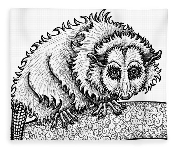Fleece Blanket featuring the drawing Opossum by Amy E Fraser