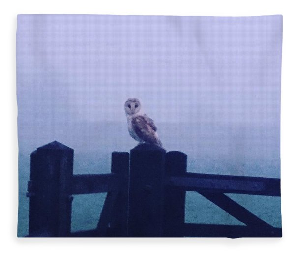 Owl In The Mist Fleece Blanket