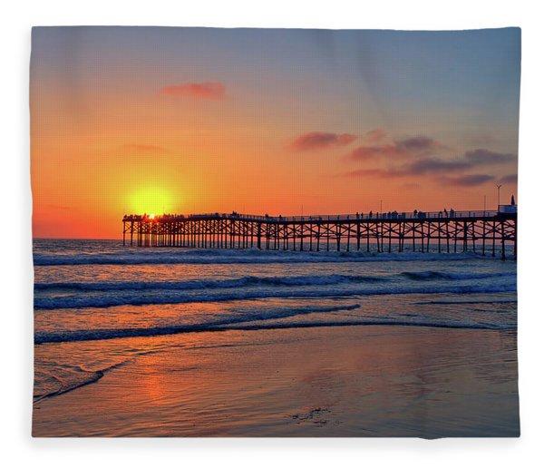Pacific Beach Pier Sunset Fleece Blanket