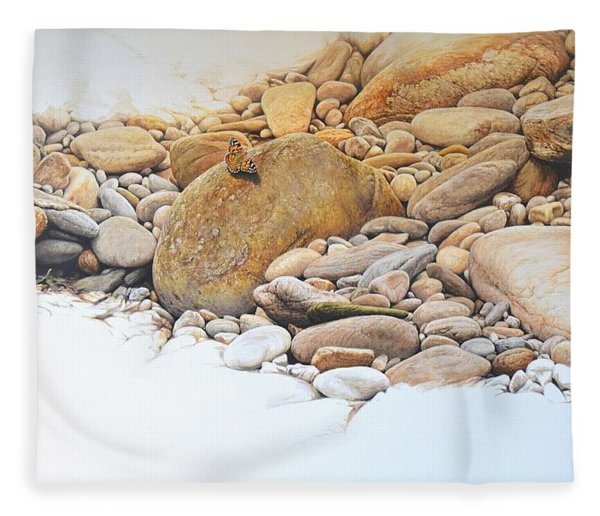 Fleece Blanket featuring the painting Painted Lady Butterfly by Alan M Hunt