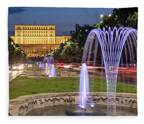 Fleece Blanket featuring the photograph Palace Of Parliament At Night - Bucharest by Barry O Carroll