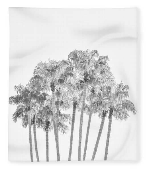 Palm Tree Grove In Black And White Fleece Blanket