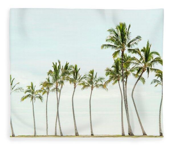 Palm Tree Horizon In Color Fleece Blanket
