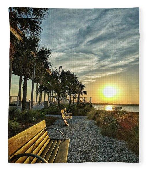 Palm Tree Sunset Fleece Blanket