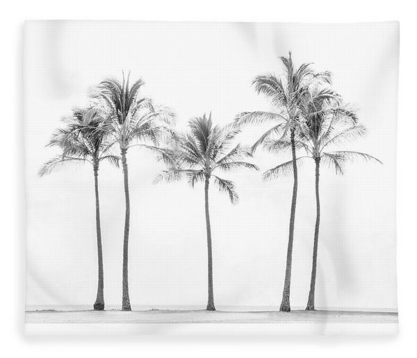 Palm Trees On The Beach In Black And White Fleece Blanket