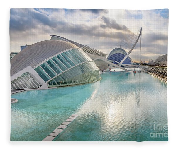 Panoramic Cinema In The City Of Sciences Of Valencia, Spain, Vis Fleece Blanket