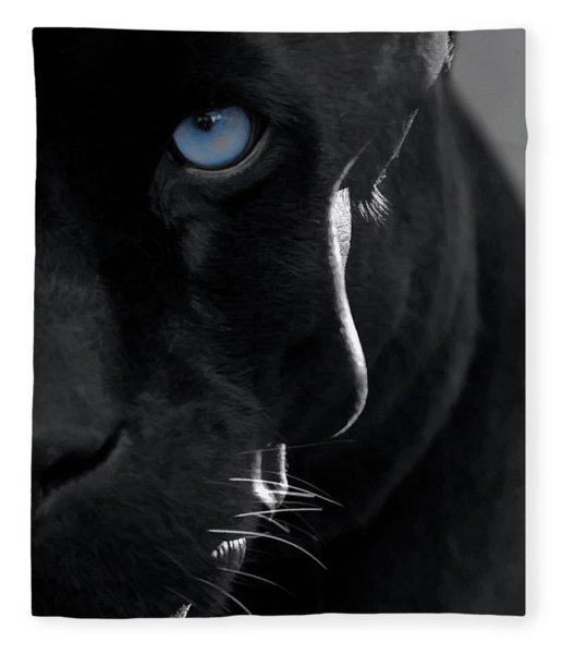 Fleece Blanket featuring the digital art Pantheress by ISAW Company