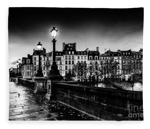 Paris At Night - Pont Neuf Fleece Blanket